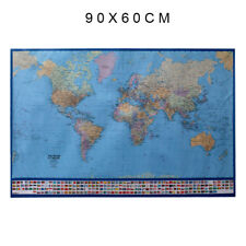 Travel World Map Fabrics Child Teaching Banner Ocean Canvas Poster Country Flags