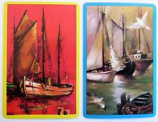 PAIR VINTAGE SWAP CARDS. OLD FISHING BOAT SCENES. BATTENED SAIL, SEAGULL & DOVE