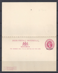 BAHAMAS QV POSTAL STATIONERY UPU REPLY CARD ONE PENNY OVER HALFPENNY UNUSED