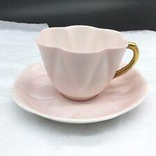 Shelley 13000 Pastel Pink Gold Teacup Cup Saucer Fine Bone China Porcelain Set