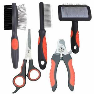 Dog Cat Groom Set: Coarse Comb, Slicker/Double Sided Brush,Scissors, Clippers