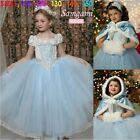 New baby girls princess Cinderella Tutu dress+ hooded cape 1-5yrs costume