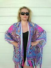 Plus Size Silk Kaftan Kimono Top Cape Beach Coverup Overlay Paisley 195 Blue