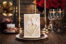 10x Elegant Wedding Invitation Card - Beige & White Laser Cut