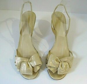 Kate Spade Gold Textured Leather Slingbacks Heels Size 9B Made In Italy