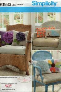 Simplicity Sewing Pattern 1933 Pillows Cushions Applique Designs, Flowers, Bird