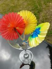 Sunflower Cocktail Sticks Set of 24 Coloured Paper Concertina Drink Decorations