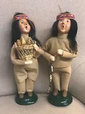 (2) Byers Choice Native American Indian - Girl w/Basket Corn & Boy w/ Fish 1998