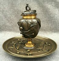 heavy antique french Art Nouveau inkwell 1900 made of bronze bugs birds
