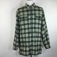 LL Bean Mens XL Tall Fleece Lined Green Blue Plaid Long Sleeve Button Shirt