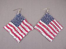 "American Flag earrings USA lightweight dangle liquid mesh metal 4"" long flowy"