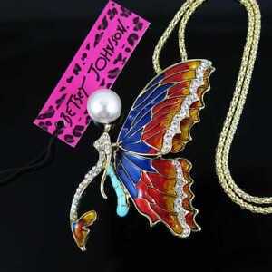 Betsey Johnson Women Rhinestone Butterfly Pendant Necklace Sweater Chain Jewelry