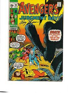 Avengers #90 signed by Roy Thomas FN- MARVEL 1971 Captain Marvel RONAN