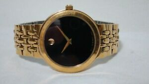 Men's  Movado Classic Black Dial Gold plated Watch - Model 88-E4-1892