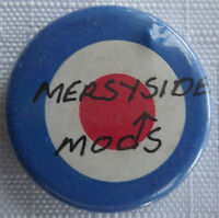 MERSYSIDE MODS Mod Target  Old OG Vtg 1980`s Button Pin Badge 25mm