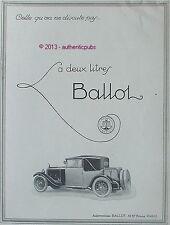 PUBLICITE AUTOMOBILE BALLOT LA 2 LITRES VOITURE ART DECO DE 1926 FRENCH AD CAR