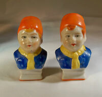 VINTAGE ORANGE YELLOW BLUE DUTCH BOY BUST SALT & PEPPER SHAKERS MADE IN JAPAN!