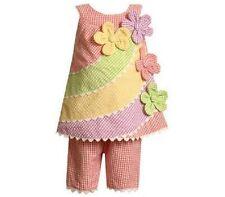 NWT Girl 6-9M Bonnie Baby SPRING SEERSUCKER Gingham Floral Pastels Top Pant Set