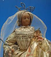 superbe vierge à l'enfant en cire sous globe - art populaire religieux 18ème