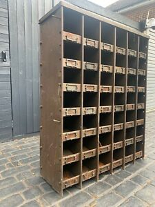 OLD Metal Pigeon Hole Storage Shelf Engineering Industrial Compartments Derby