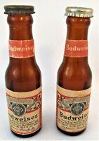 "Vintage Budweiser Bottle Salt and Pepper Shakers, 4"" high"