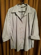 North crest womans size 2X blue striped 3/4 sleeve blouse polyester blend EUC