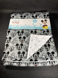 "Authentic Disney Mickey Mouse Baby Blanket 30"" X 40"" Super Soft"