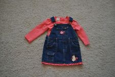 Classic Pooh By Disney Girls Jumper Dress Denim & Shirt 18m Vintage Pooh  GUC