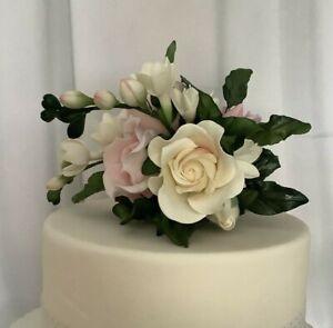 Pink/Ivory Sugar Flower Cake Topper/Decoration/weddding/birthday