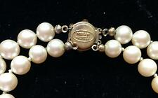 MIRIAM HASKELL PEARL NECKLACE Two-Strands w Floral Push-In Clasp VINTAGE SIGNED