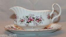 Royal Albert Bone China Lavender Rose Gravy Boat Underplate England Flower White