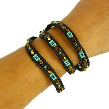 BR520-131 Three Wrap Turquoise Amber Leather Crystal Bracelet Artisan Beaded