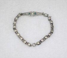 Antique Vintage 1910's 20's Art Deco Sterling Silver Diamond Emerald Bracelet
