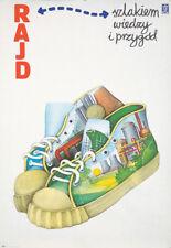 Original Vintage Poster Polish Rajd Rally Sneakers Shoes 1974