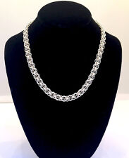 Handmade Sterling Silver Celtic Line Chainmaille Necklace. 18 inches.