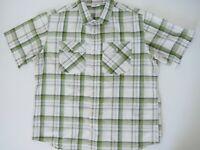 KATHMANDU Mens Travel Hiking Short Sleeve Shirt NWOT Size 2XL White Green Check