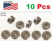 10 X V623ZZ 623VV  Groove Guide Pulley Rail Ball Bearings Metal (0.3cm*12mm*4mm)