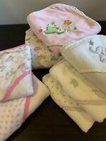 """Rene Rofe Hooded BABY BATH TOWELS - Lot of 7 (two 32"""" & five 26"""")"""