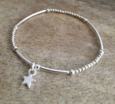 Simple Silver Ball Mini Noodle Beaded Lucky Star Wish Stacker Bracelet Bangle