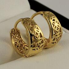 Yellow Gold Filled Filigree Creole Huggie Hoop Earrings 14mm UK Seller
