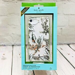 Kate Spade Case for iPhone 8/7/6s/6 Gold/Clear/White Leaf Hardshell Phone Case
