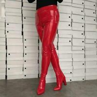 Damen Stiefel mittelhoch Große größe Elegant rot Wildleder Winterschuhe Gr.47