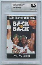 1992-93 Chicago Bulls Pocket Schedule - MICHAEL JORDAN / SCOTTIE PIPPEN  BGS 8.5