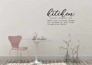 Kitchen definition, humour, wall sticker, vinyl decal