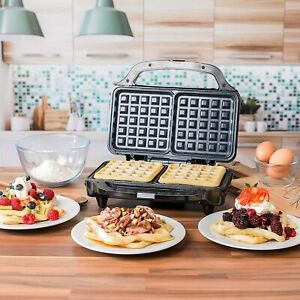 Deep Fill Waffle Maker with XL Non-Stick Cooking Plates 900 W Silver Stainless S