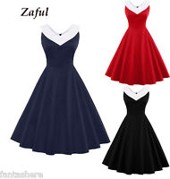 LADIES RED BLACK VINTAGE 40s 50s 60s RETRO PINUP PARTY PROM COCKTAIL SWING DRESS