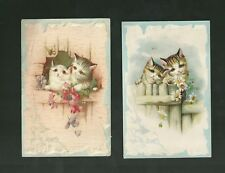 2 Different Early 1900's Cards Of Cute Kittens On Fence