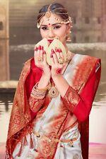 Indian Sari Saree Party Wear Designer White Woven Banarasi Art Silk -1177
