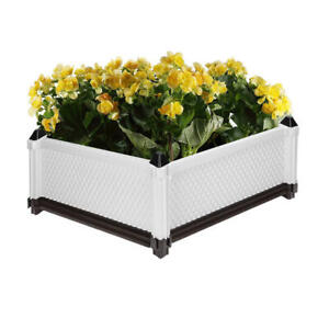 Stackable Raised Garden Beds Plastic Square Planter Pot Kit for Flower Vegetable