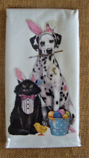 Mary Lake Thompson Flour Sack Towel - Dalmatian, Black Cat in Easter Bunny Ears